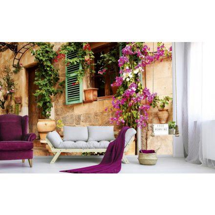 Virágos házfal, poszter tapéta 375*250 cm