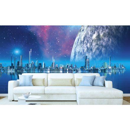 Városkép a hold előtt, poszter tapéta 375*250 cm