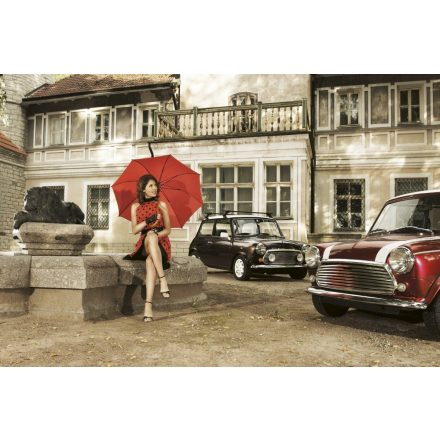 Piros esernyős nő, poszter tapéta 375*250 cm