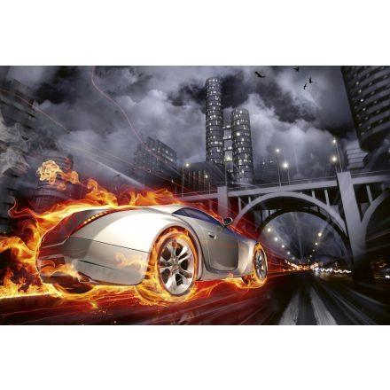 Tűzcsóva az autó körül, poszter tapéta 375*250 cm