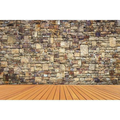 Kőfal padlóval, poszter tapéta 375*250 cm