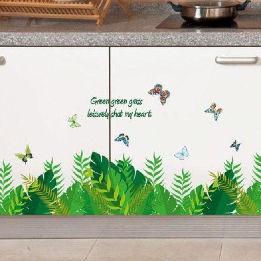 Trópusi levelek pillangókkal, falmatrica a Dekoráció webáruház falmatricái közül