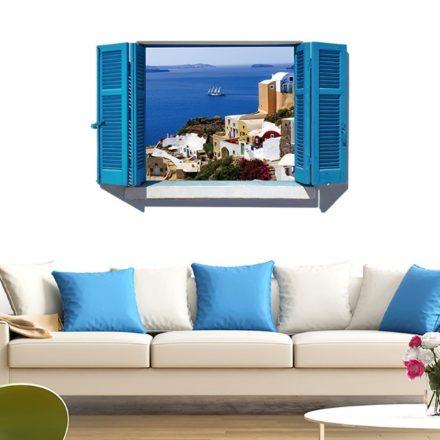 Tengerparti kilátás, ablakos falmatrica a Dekoráció Webáruházban