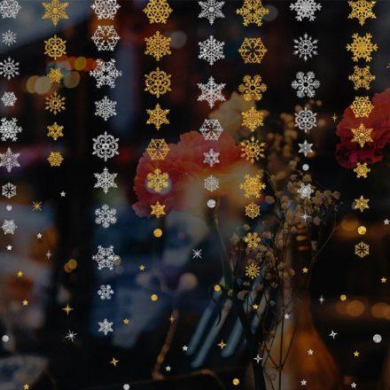 Ezüst hópelyhek, ablakmatrica a Dekoráció Webáruházba