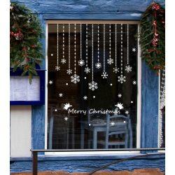 Függő hópelyhek, karácsonyi kirakat- és ablakmatrica a Dekoráció Webáruházban