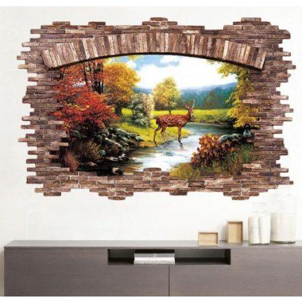 Őszi tájkép szarvassal, faltörő falmatrica a Dekoráció Webáruházban