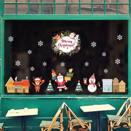 Örvendező Mikulás, karácsonyi üvegdekor matrica a Dekoráció Webáruházban