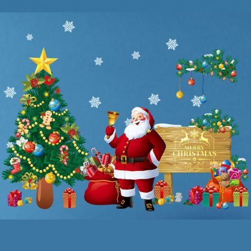 Csengető Télapó, karácsonyi dekorációs matrica ablakra vagy kirakatra