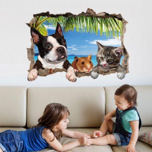 Állati barátok, faltörő falmatrica a Dekoráció Webáruházban