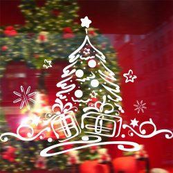 Karácsonyfa ajándékokkal, üvegdekor ablakra, kirakatra a Dekoráció Webáruházban