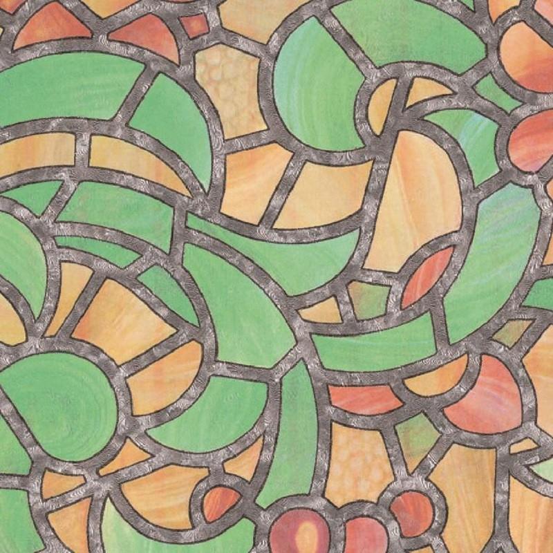 REIMS zöld-sárga ólomüveg öntapadós üvegfólia 45 cm széles
