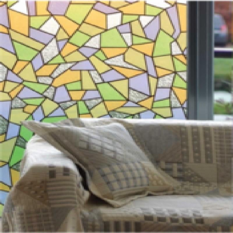 Színes absztrakt mintás öntapadós üvegfólia