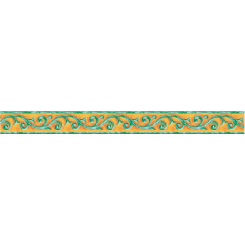 Sárga-zöld indás mintás öntapadós bordűr