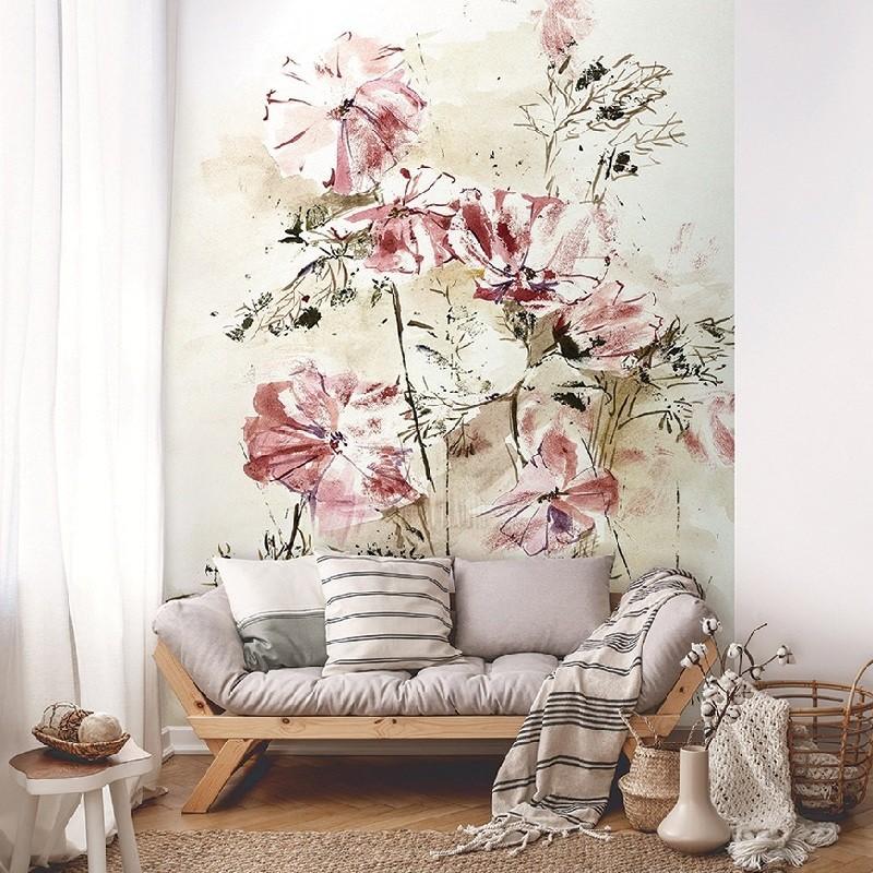 Festmény hatású virágok, papír alapú poszter tapéta 254 x 82 cm