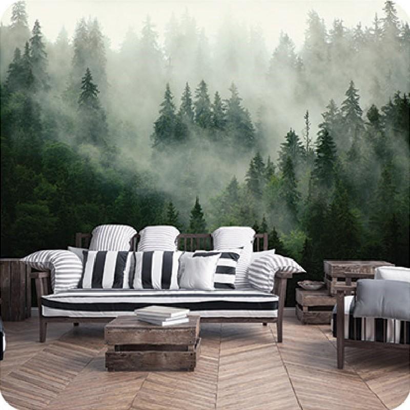 Ködös fenyőerdő, papír alapú poszter tapéta 254 x 82 cm