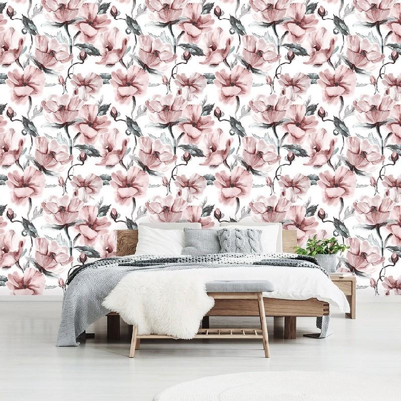 Rózsaszín virágok, papír alapú poszter tapéta 254 x 82 cm