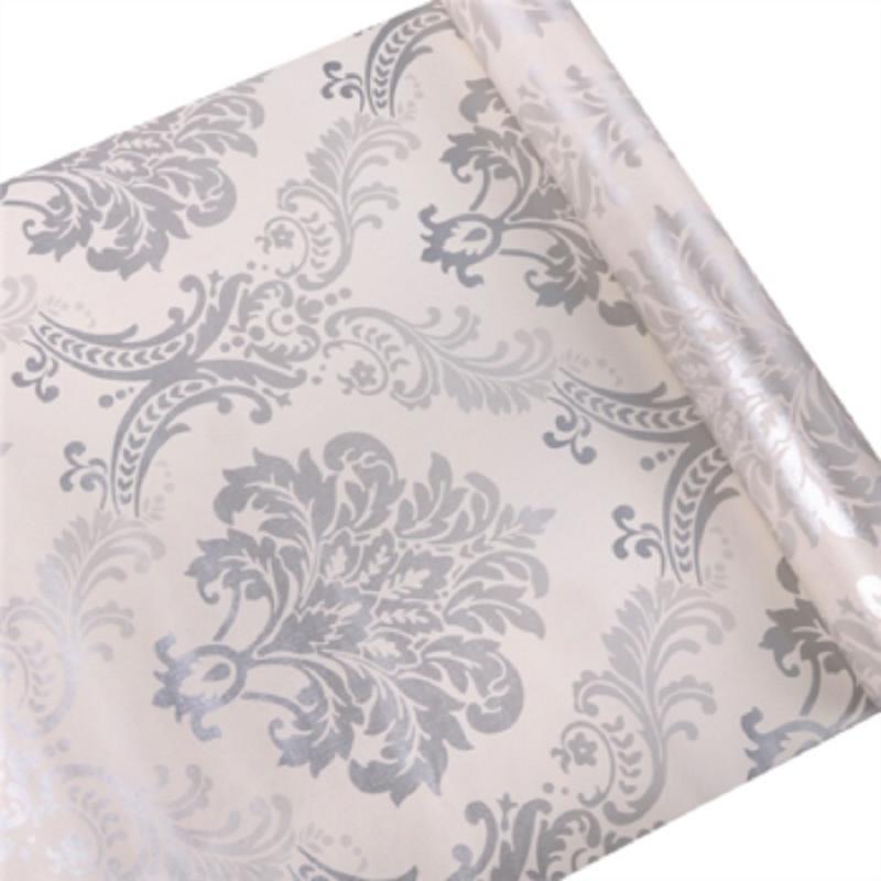 Ezüst-fehér barokk mintás öntapadós tapéta