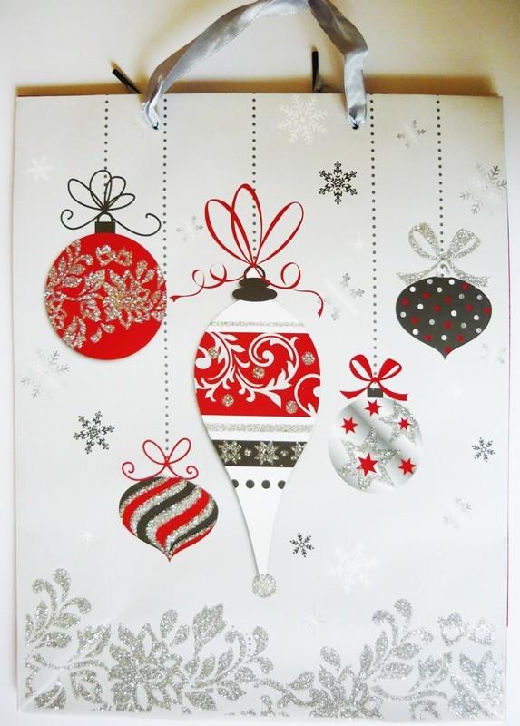 Karácsonyi díszek, ezüst csillámos ajándéktáska, M méret