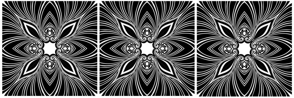 Nonfiguratív, 3 részes falikép, falmatrica szett 175Sz x 53M cm