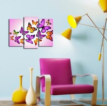 Pillangók, 3 részes falikép, falmatrica szett 120Sz x 90M cm