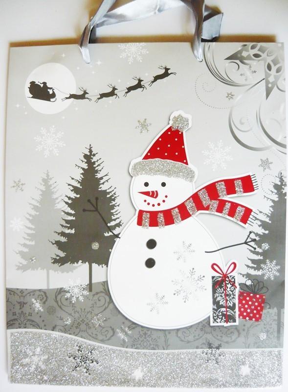 Hóember, ezüst csillámos ajándéktáska, L méret