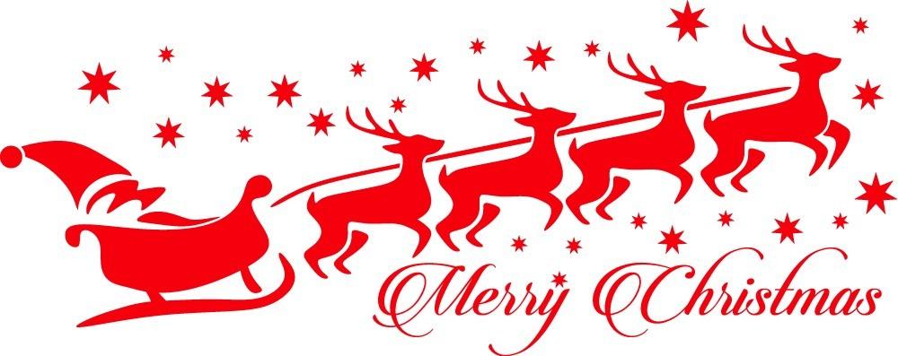 Télapó szánon szarvasokkal, karácsonyi matrica kirakatra 120Sz x 47M cm
