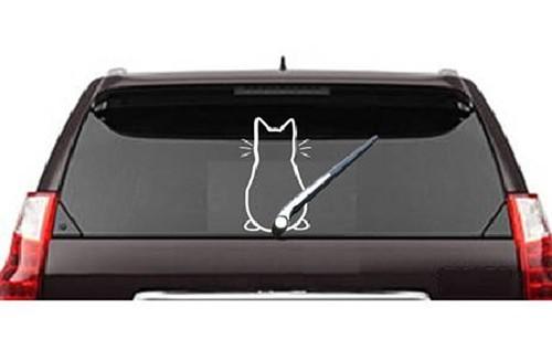 Farkát csóváló cica, hátsó szélvédő matrica