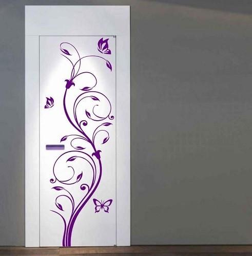 Nonfiguratív virág pillangókkal, ajtómatrica 44,3Sz x 140M cm