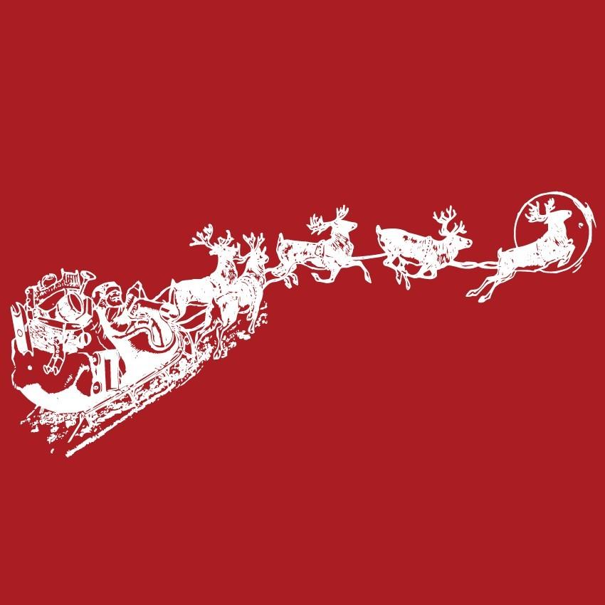 Télapó rénszarvasokkal, karácsonyi matrica kirakatra 70Sz x 34M cm