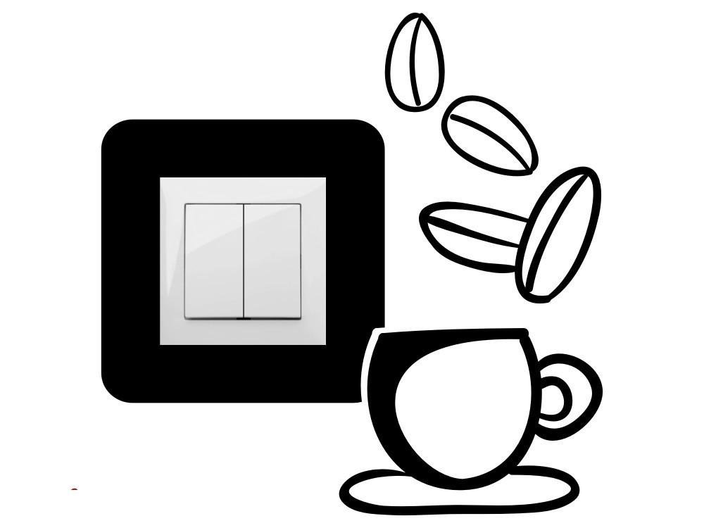 Kávézás, villanykapcsoló matrica