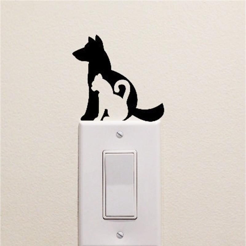 Kutya-cica villanykapcsoló matrica