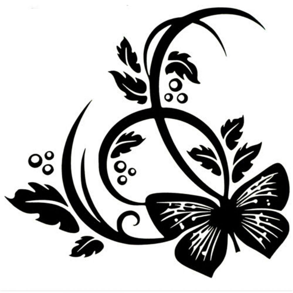 Nonfiguratív virág pillangóval, dekormatrica 30Sz x 31M cm