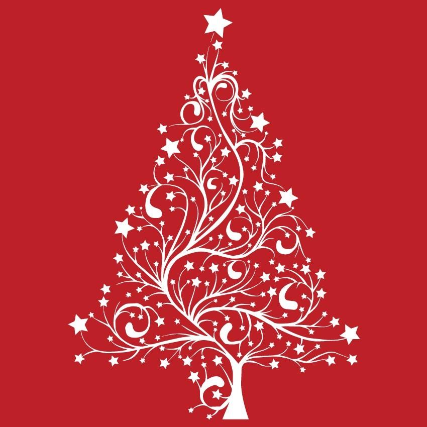 Nonfiguratív karácsonyfa, karácsonyi matrica kirakatra 70Sz x 101M cm