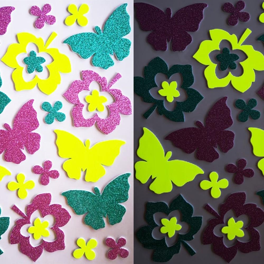 Pillangók és levelek, éjjel világító csillámos polifoam falmatrica
