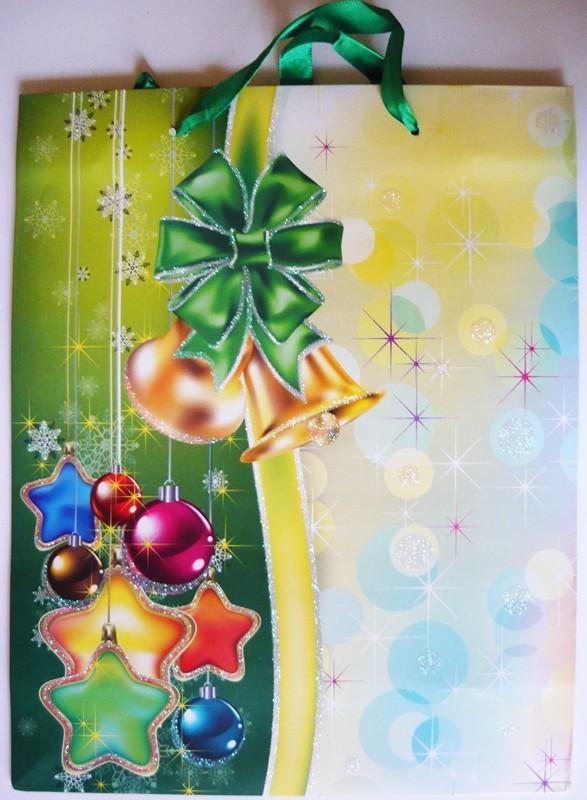 Zöld, csillámos karácsonyi ajándéktáska. L méret