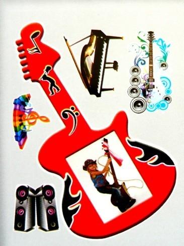 Zene, 3D fényképkeret matrica