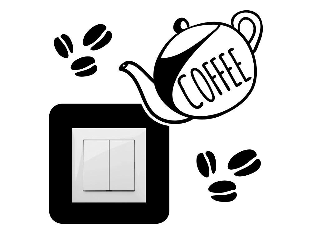 Kávéskanna, villanykapcsoló matrica