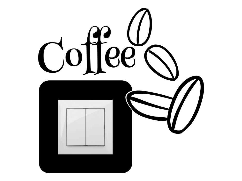 Kávészemek, villanykapcsoló matrica