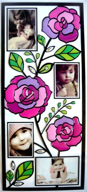 Rózsa, kontúrmatrica fényképkeretekkel