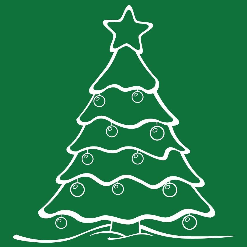 Fenyőfa, karácsonyi matrica kirakatra 70Sz x 70M cm
