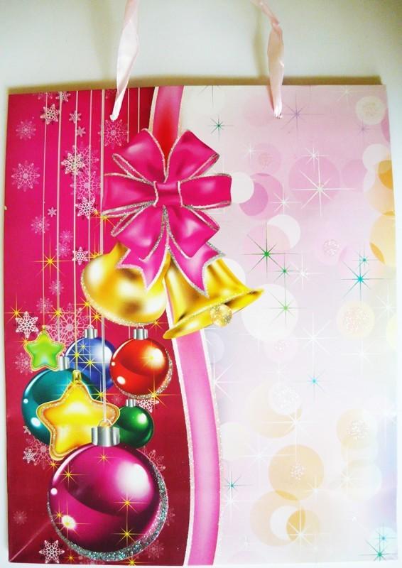 Rózsaszín, csillámos karácsonyi ajándéktáska. L méret