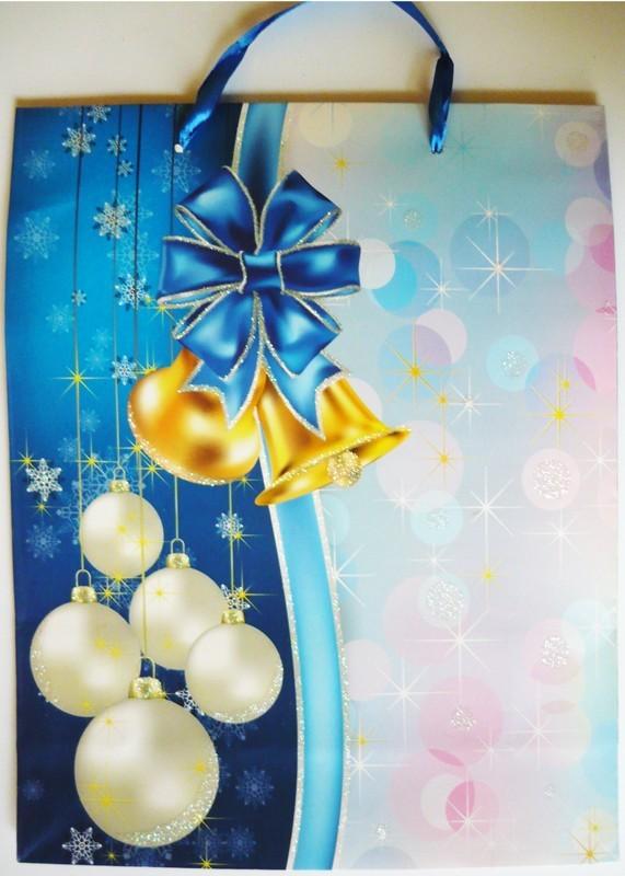 Kék, csillámos karácsonyi ajándéktáska. L méret