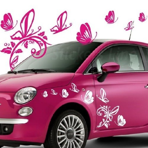 Pillangók nonfiguratív virággal, autómatrica