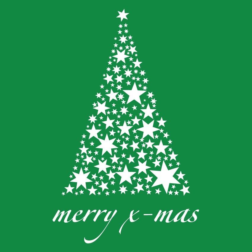 Karácsonyfa csillagokból, karácsonyi matrica kirakatra 80Sz x 126M cm