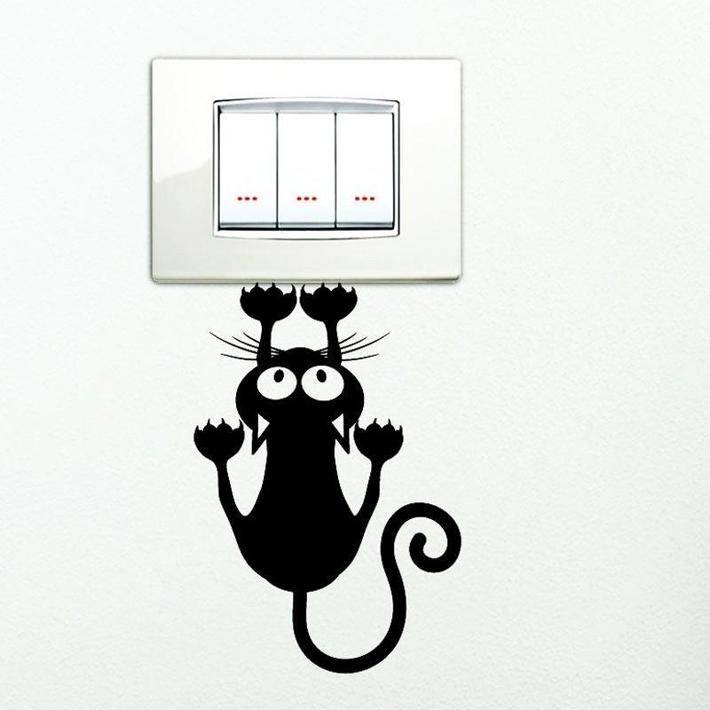 Kapaszkodó macska, villanykapcsoló matrica