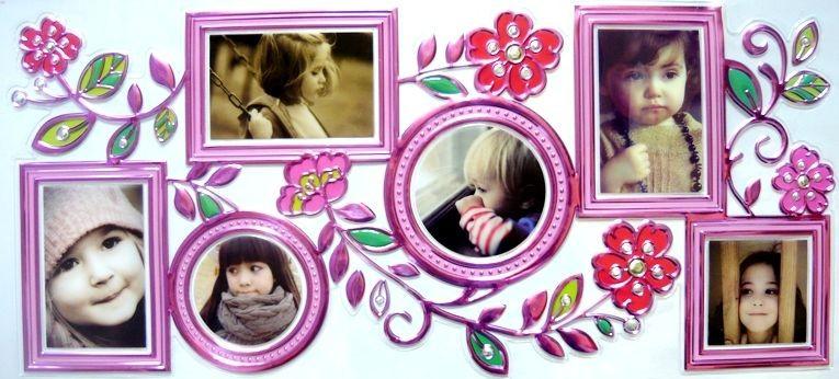 Rózsaszín virágok, kontúrmatrica fényképkeretekkel