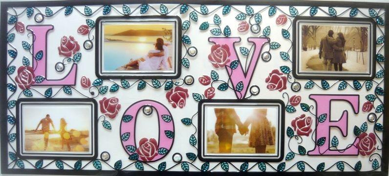 Love, kontúrmatrica fényképkeretekkel