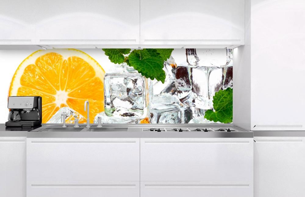 Narancs jégkockákkal, konyhai matrica hátfal, 180 cm