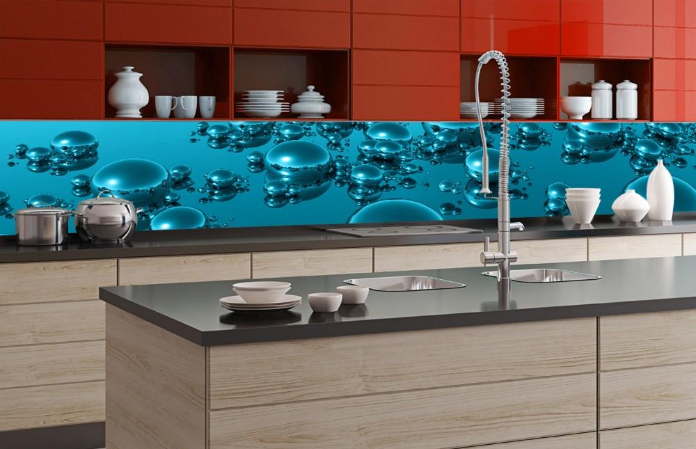 Kék buborékok, konyhai matrica hátfal, 350 cm
