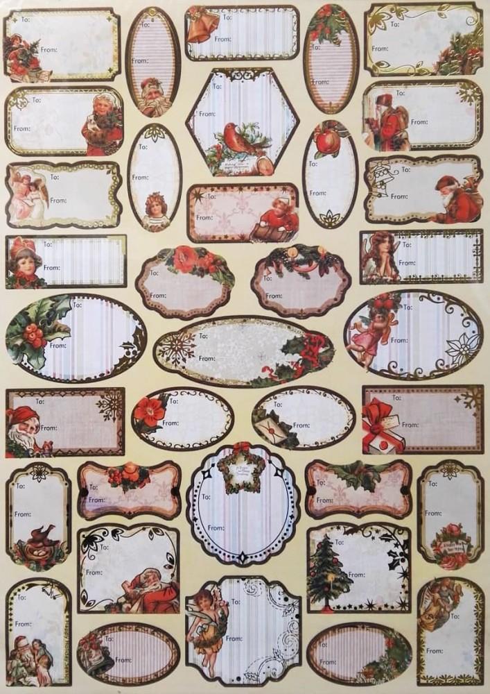 36 db színes karácsonyi ajándékcímke, arany színű mintával
